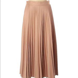 Zara tan neutral pleated midi skirt